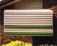 Trinidad - Adjustable Lovure & Kingston Closed with a Vertical Stripe Awning above.