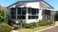 Vertical Stripe Awnings with closed ends... one with miters